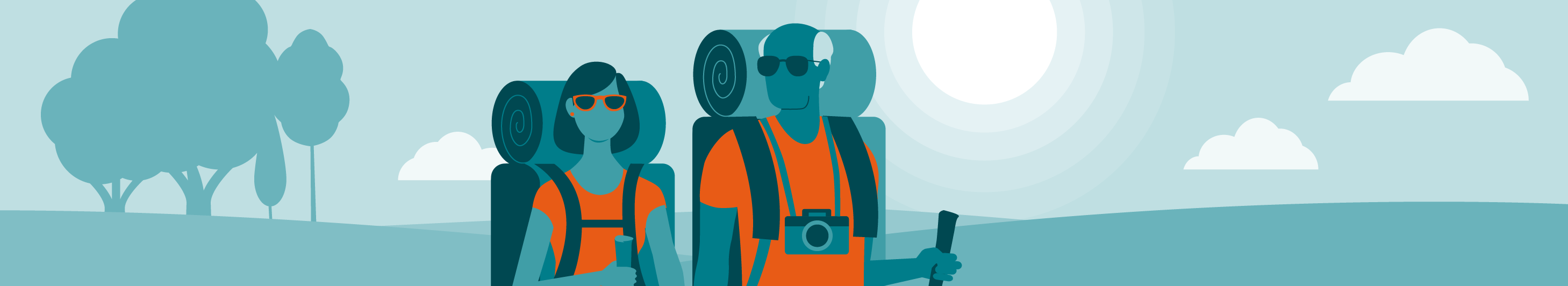 illustration of a man and woman with hiking gear and backpacks