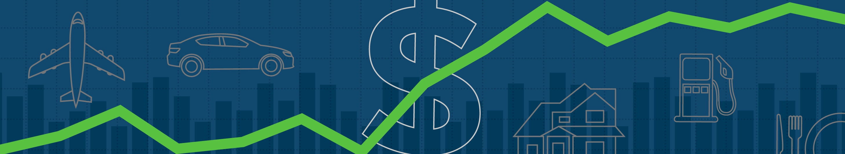 illustration of a green trend line on a dark blue background with a bar chart and airplane, car, dollar sign, house, and gas pump icons