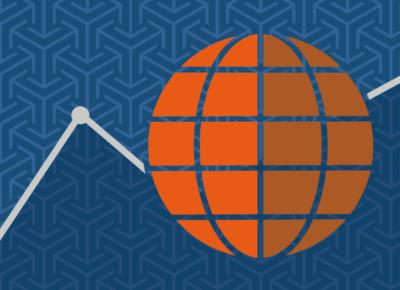 illustration of an orange globe on a blue background