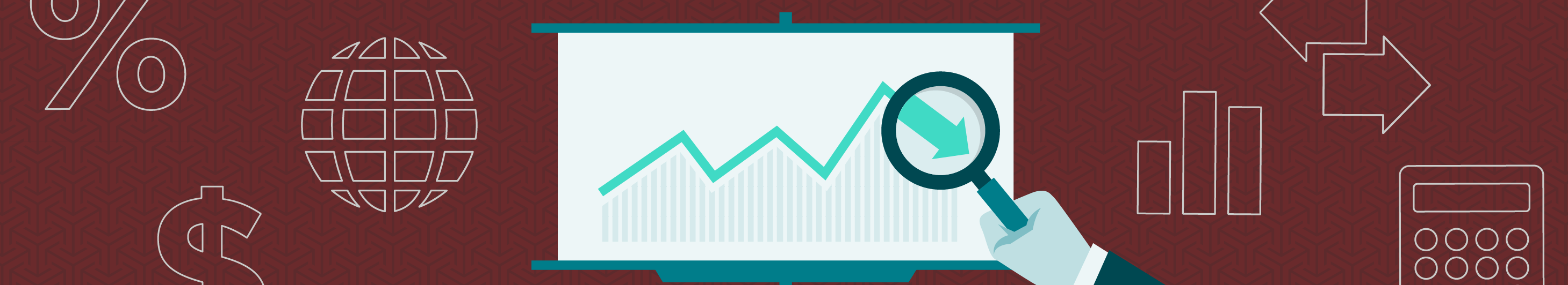 illustration of white projector screen with a turquoise arrow on a maroon background