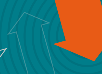 illustration of orange and white arrows on a teal background
