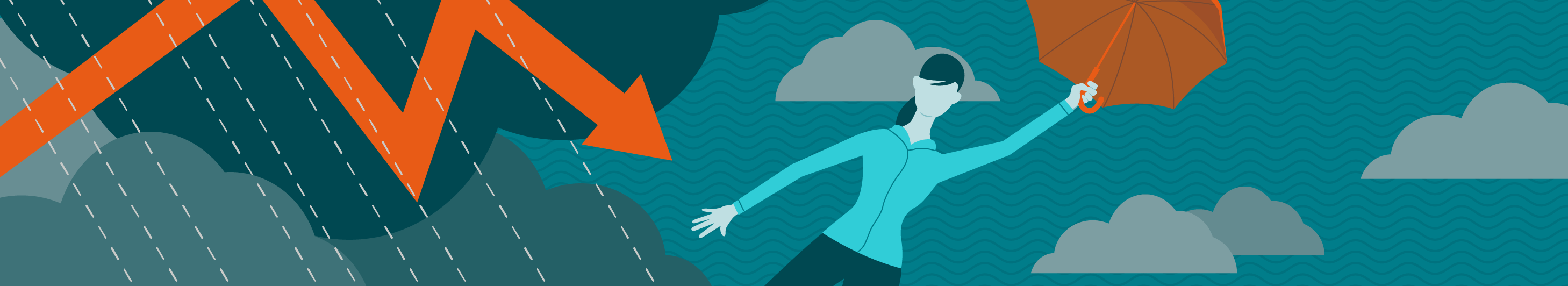 illustration of a woman holding an orange umbrella in severe weather