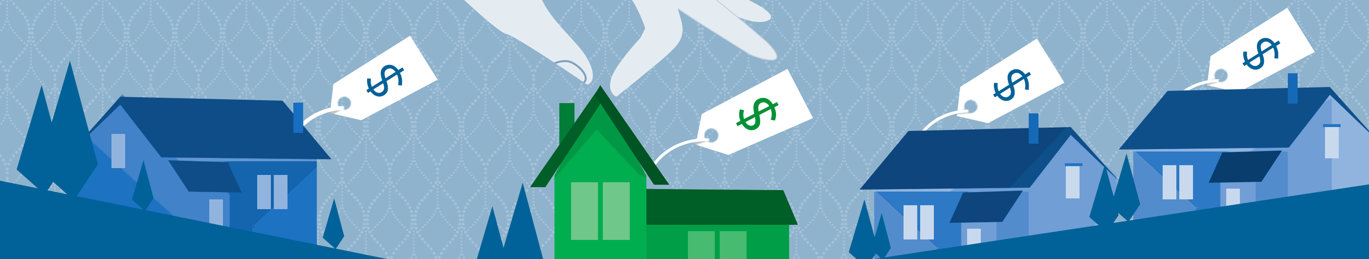 illustration of a hand reaching for a green house with a price tag, with out blue houses with price tags in the background