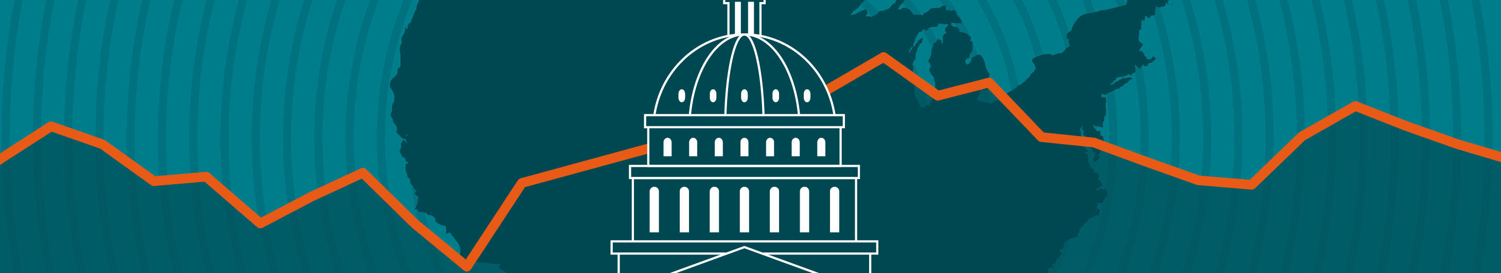 illustration of a capital building on top of an outline of the United States