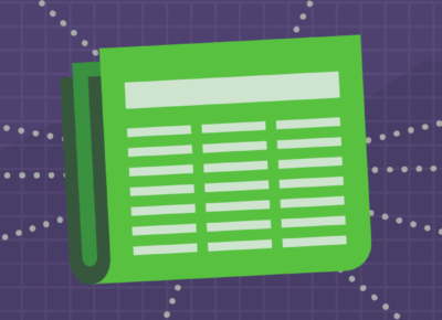 illustration of article with purple background