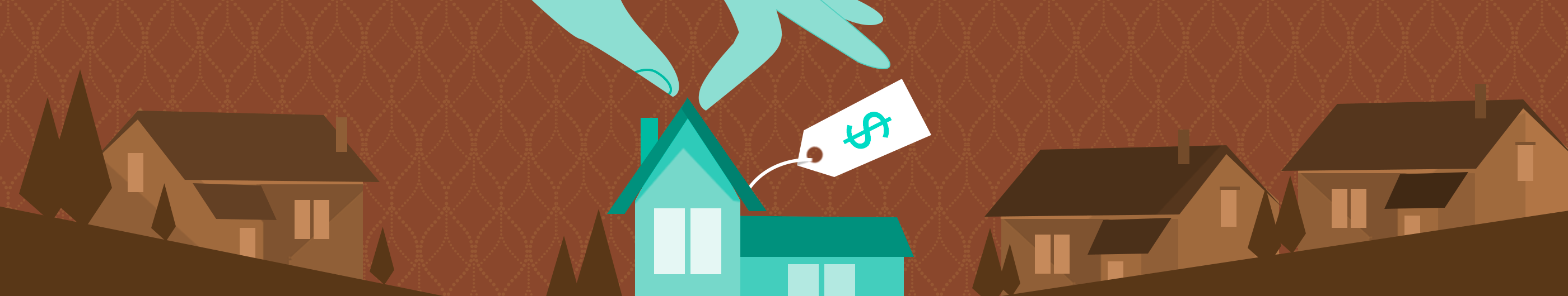 illustration of teal house with price tag