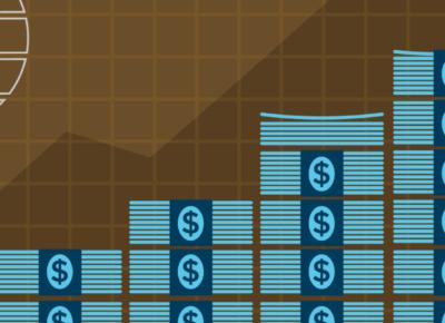 illustration of money stacking up