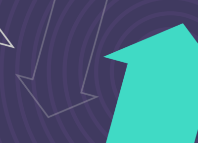 illustration of arrow pointing up with purple background