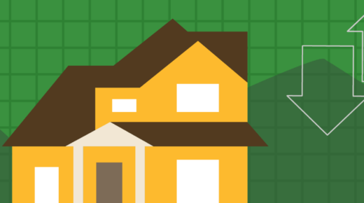 illustration of house with green background