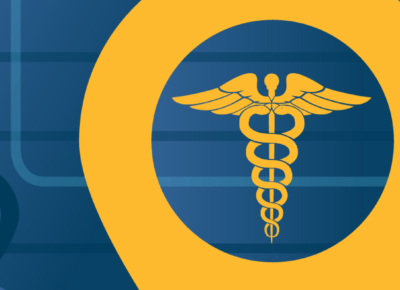 illustration of health symbol on blue background