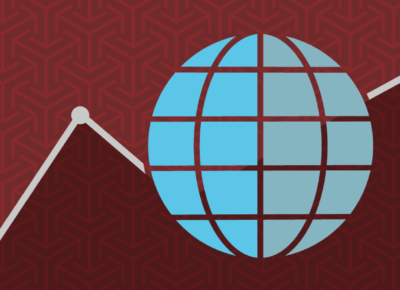 illustration of a globe on burgundy background