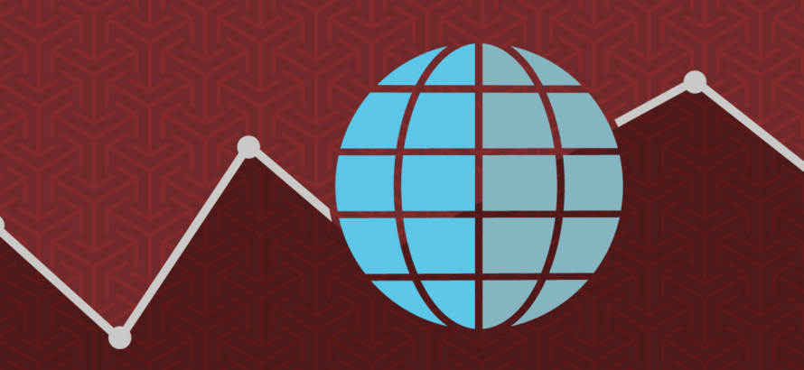 illustration of a globe on burgundy background