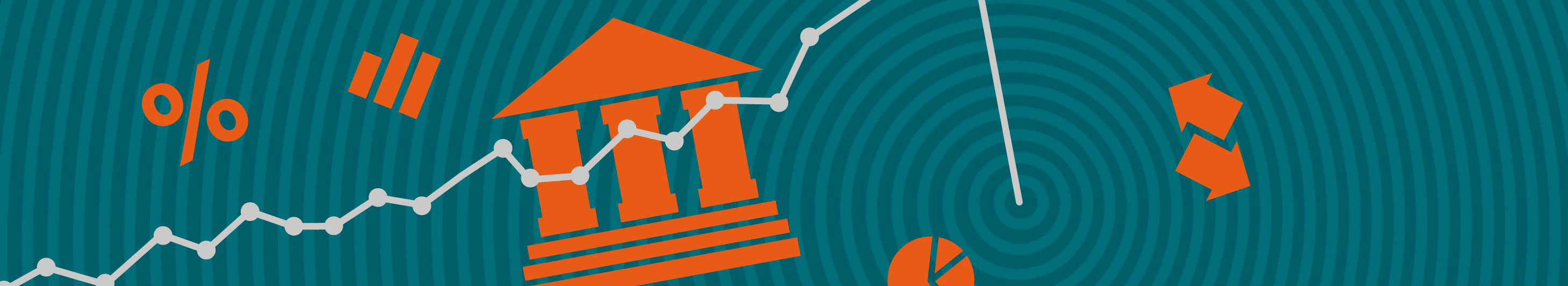 illustration of a volatile graph on a turquoise background with orange iconography