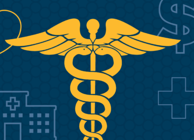 illustration of various medical iconography on a dark blue background