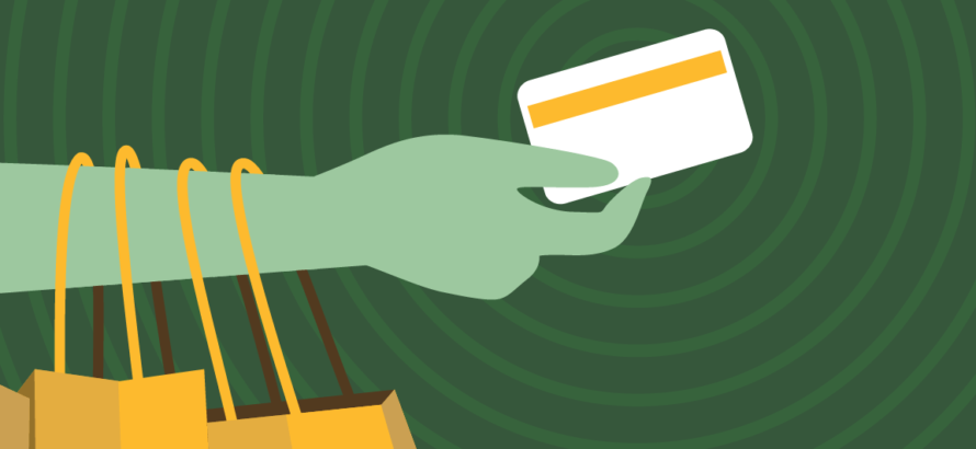 illustration of a hand holding a credit card