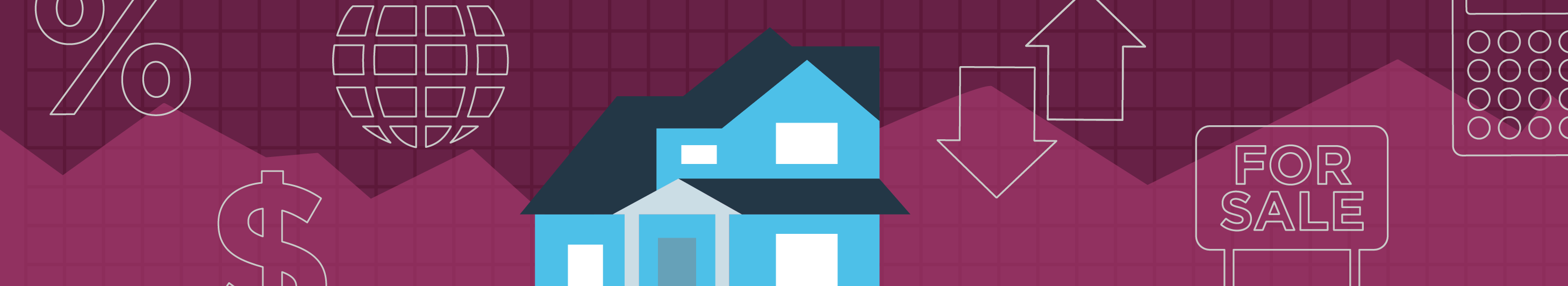 illustration of a house in front of a burgundy background