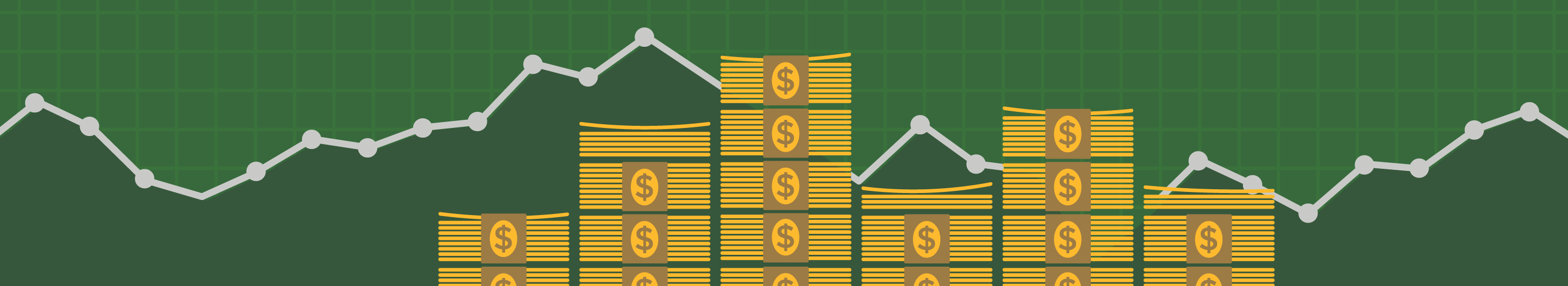 illustration of stacks of cash on green background