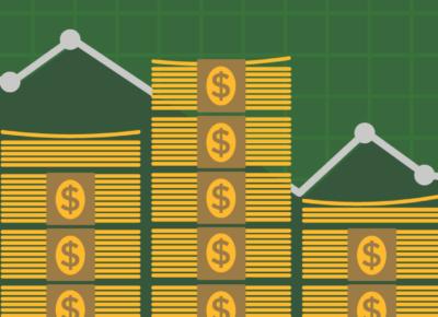 illustration of stacks of cash on green background