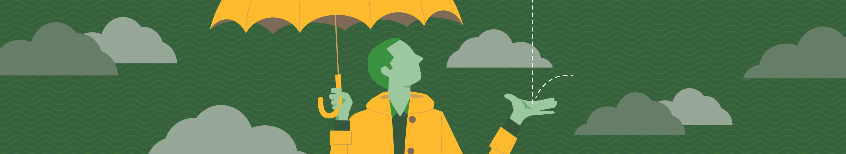 illustration of a man holding an umbrella in the rain
