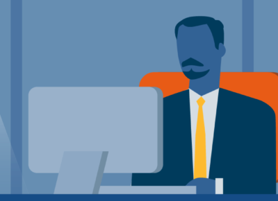 illustration of a business man working at a computer
