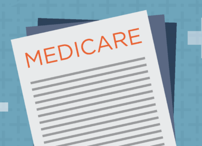 illustration of a medicare document on light blue background