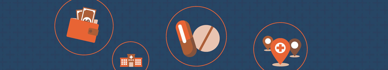 illustration of medicine on dark blue background