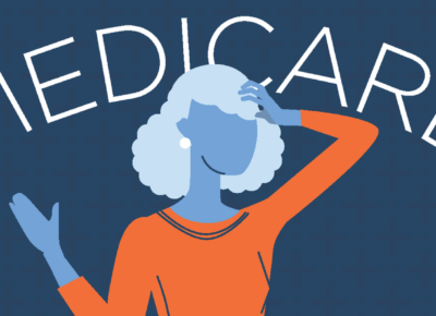 an illustration of the word medicare on blue background