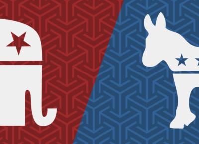a graphic displaying the democratic and republican symbols