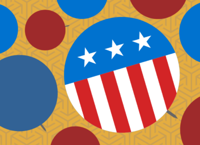 circular graphics with American flag colors on yellow background