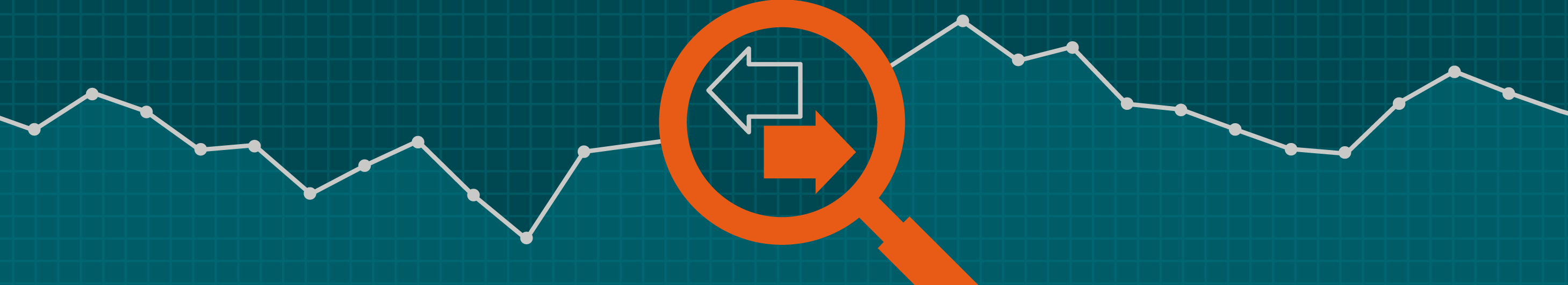 magnifying glass graphic with a teal chart background