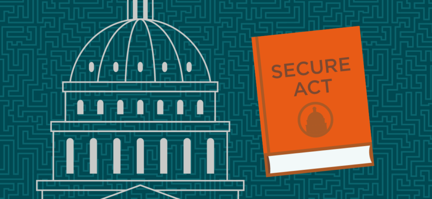 graphic of the white house next to an orange SECURE Act book