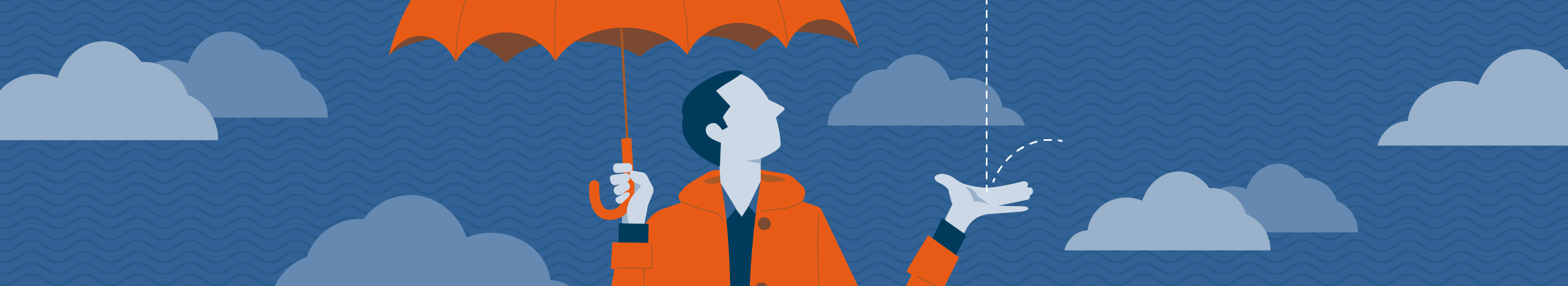 illustration of man in orange jacket holding an orange umbrella with cloud background