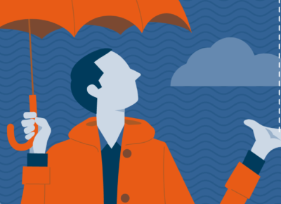 illustration of man in orange jacket holding an orange umbrella with cloud background