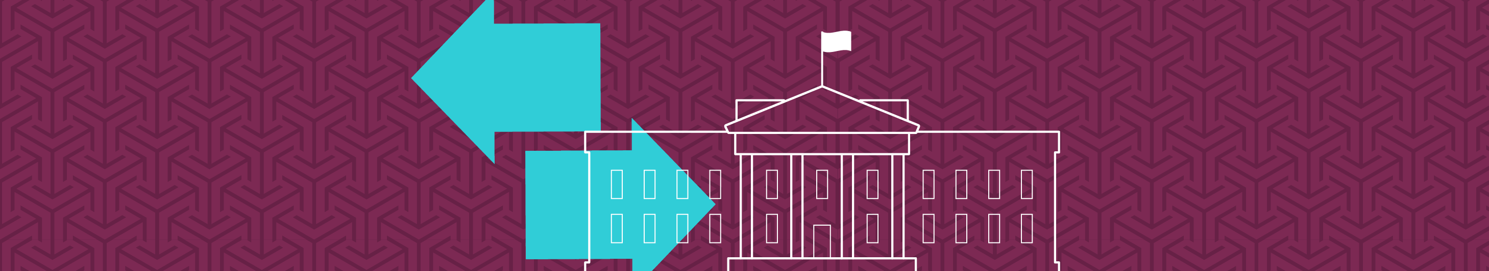 illustration of white house with arrows