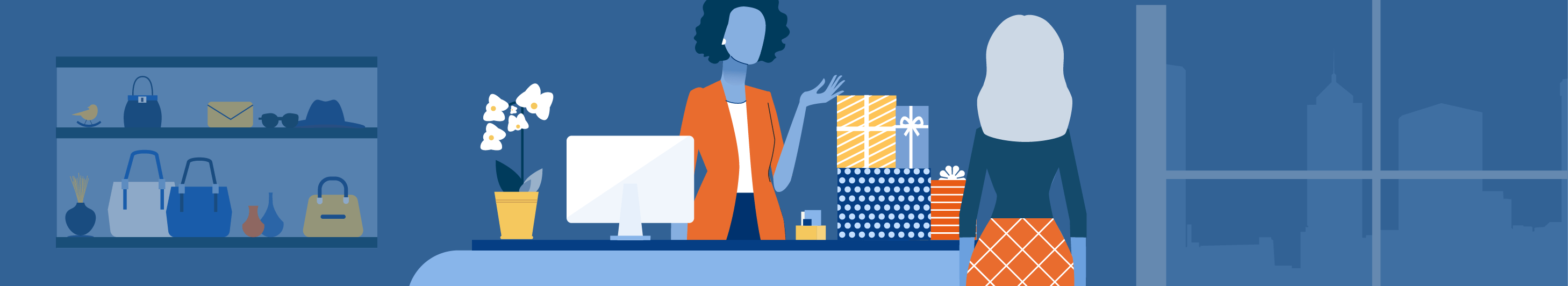 Illustration of woman purchasing items at a retail store