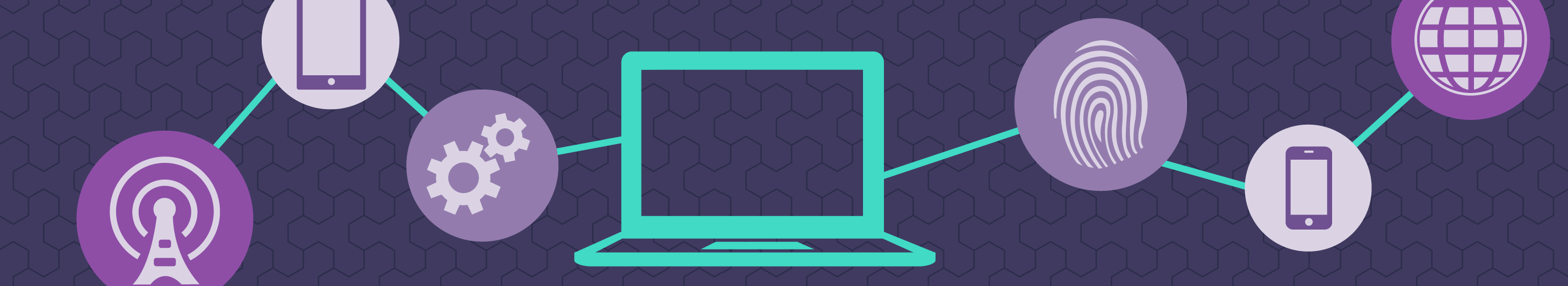 illustration of a laptop in a purple background