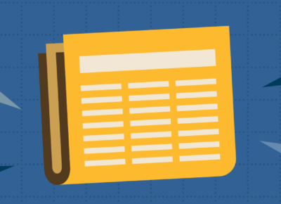 illustration of a yellow newspaper on a blue background