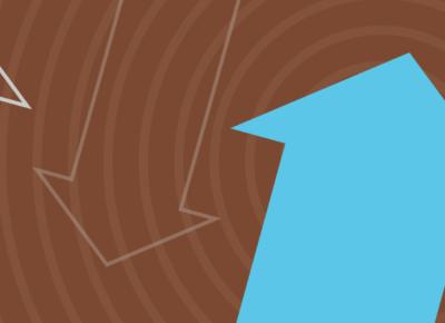 illustration of a light blue upward arrow on a brown background