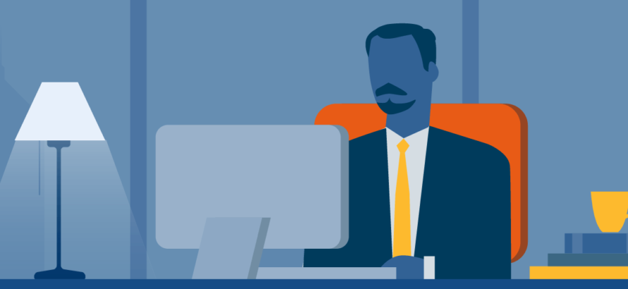 illustration of a businessman working on a computer