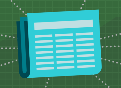 Illustration of a turquoise colored newspaper on a green background