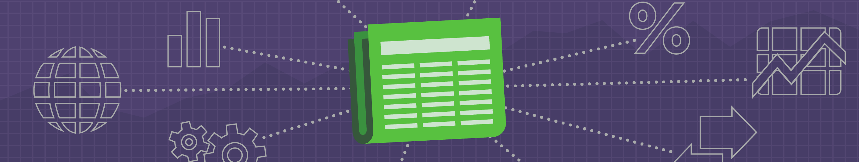 Illustration of a green colored newspaper on a purple background
