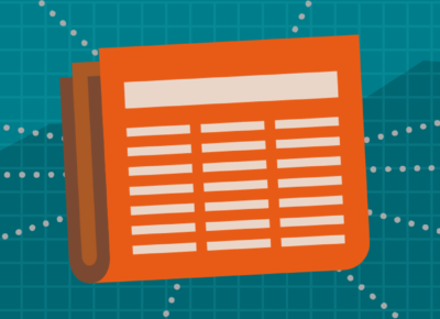 Illustration of an orange colored newspaper on a turquoise background
