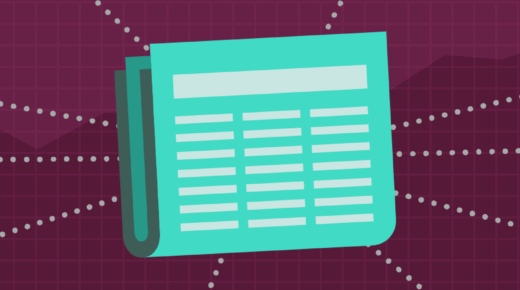 Illustration of an aqua colored newspaper on a maroon background