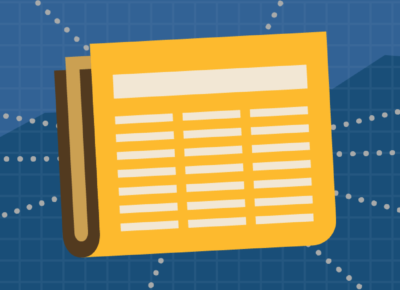 Illustration of a yellow colored newspaper on a dark blue background