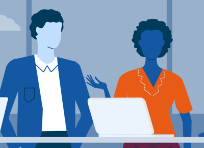 illustration of two women and two men talking behind a desk