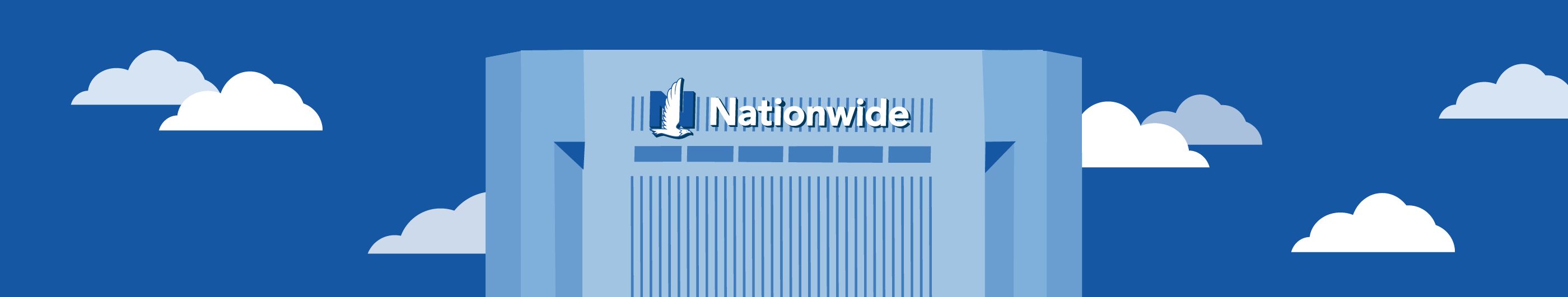 illustration of Nationwide building with white clouds and blue background