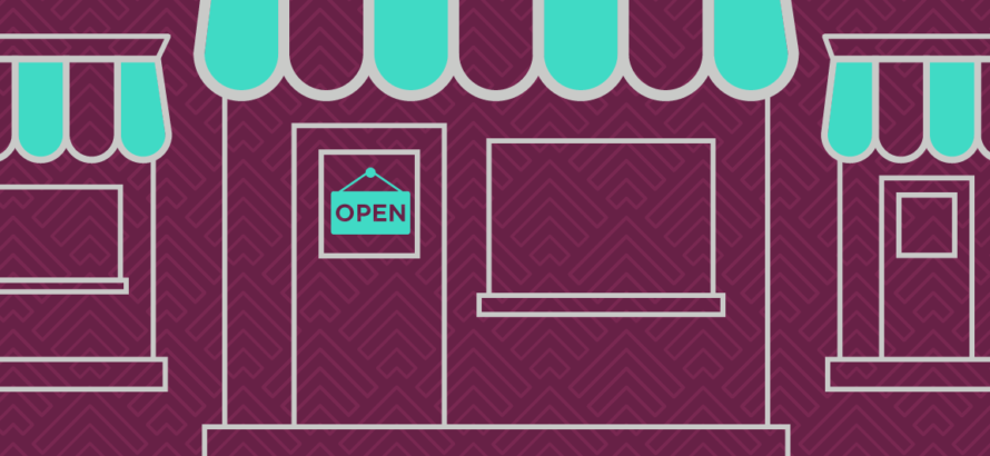 illustration of a retail store on burgundy background