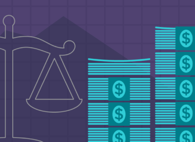 illustration of stacks of money and iconography on a purple background