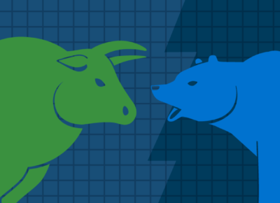 illustration of a green bull and a blue bear