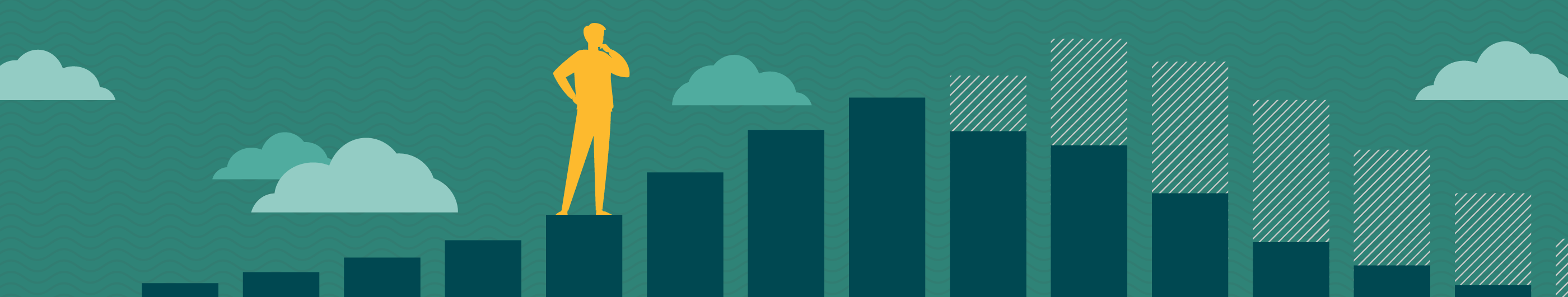 illustration of yellow man on a bar chart with clouds in background